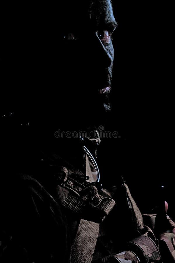 Военный смотря сердито стоковая фотография rf