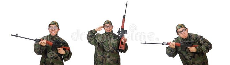 Военный с оружием изолированным на белизне стоковая фотография