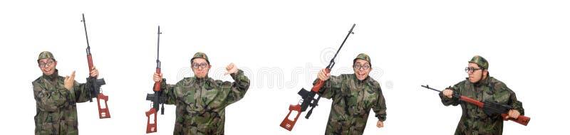 Военный с оружием изолированным на белизне стоковые изображения