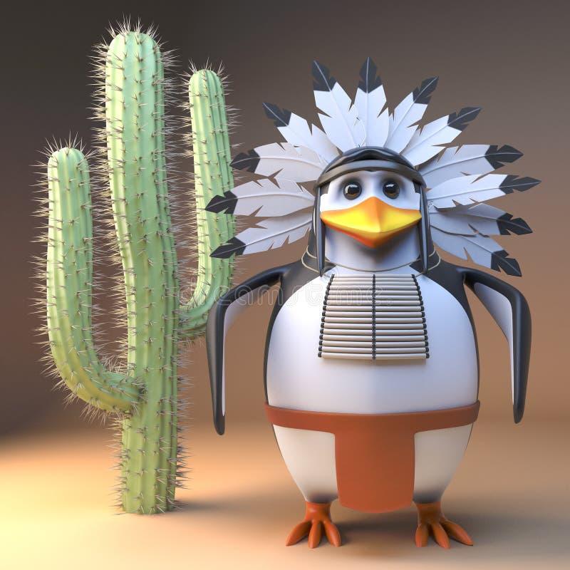 вождь в традиционном оперенном положении головного убора перед старым кактусом в пустыне, 3d благородного коренного американца 3d иллюстрация штока