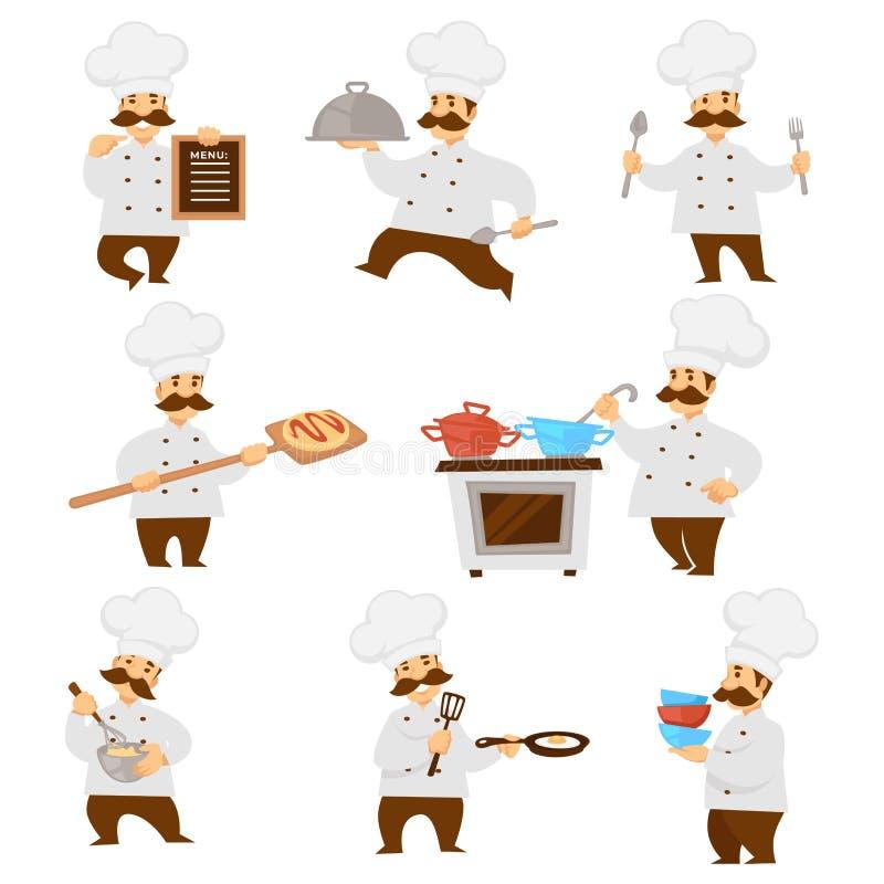 Вождь или повар в равномерных доске меню и пицце и тесте плитаа иллюстрация вектора