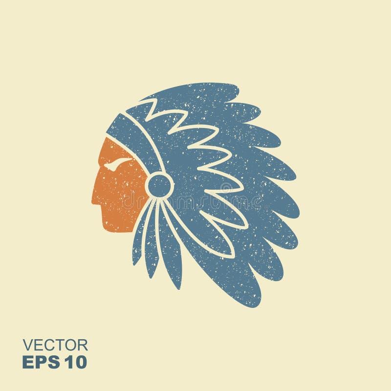 Вождь коренного американца индийский с значком вектора головного убора пера иллюстрация штока