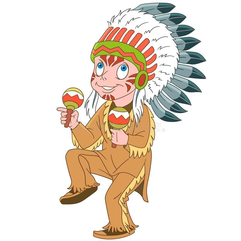 Вождь коренного американца шаржа индийский иллюстрация вектора
