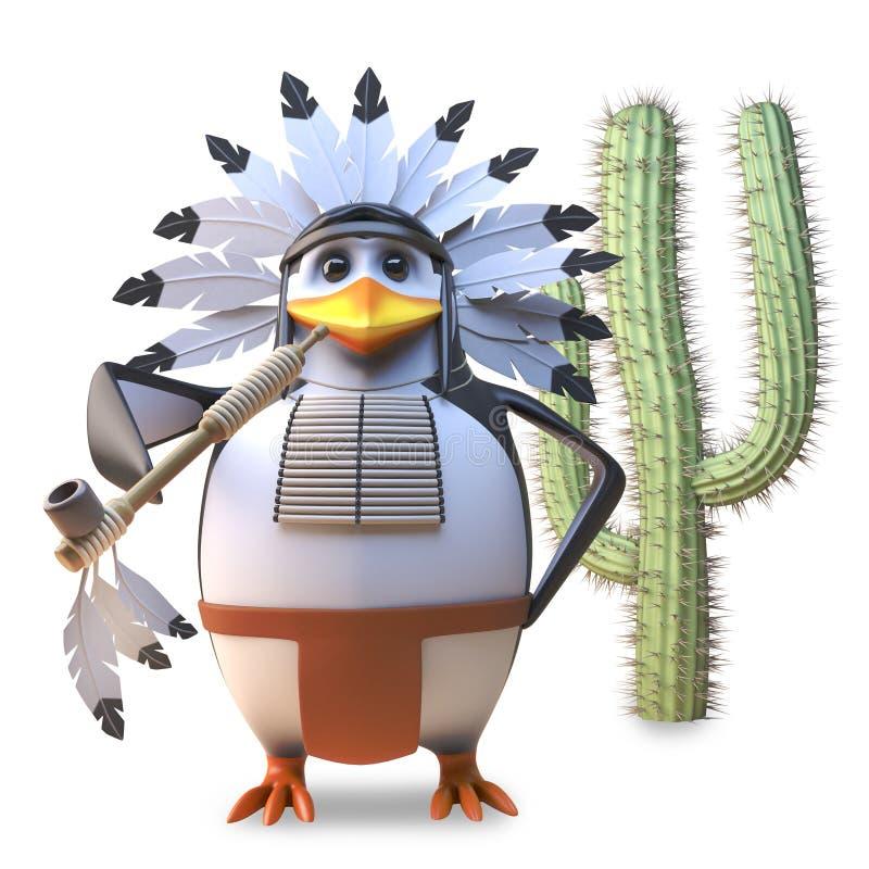 Вождь пингвина благородного коренного американца индийский курит его трубу мира мирно кактусом, иллюстрацией 3d бесплатная иллюстрация