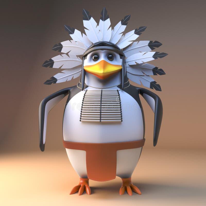 Вождь пингвина благородного коренного американца мультфильма 3d индийский в оперенном головном уборе стоя мирно, иллюстрация 3d бесплатная иллюстрация