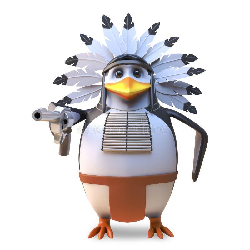 Вождь пингвина нежного коренного американца индийский куря его трубу мира и предусматривая, иллюстрация 3d иллюстрация вектора