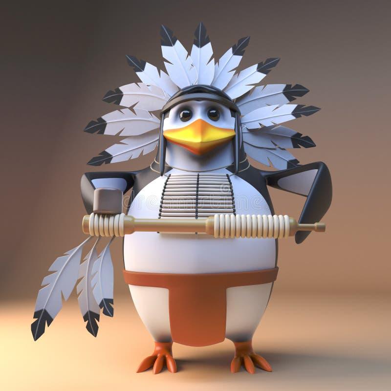 Вождь пингвина смешного коренного американца 3d индийский в традиционном оперенном головном уборе держа трубу мира, иллюстрацию 3 иллюстрация вектора
