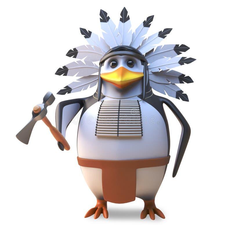 Вождь пингвина храброго коренного американца индийский владеет его могущественной осью, иллюстрацией 3d иллюстрация вектора
