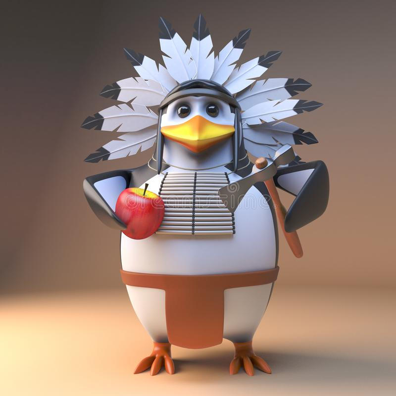 Вождь смешного коренного американца мультфильма 3d индийский в оперенном головном уборе прерывая яблоко с осью, иллюстрацией 3d иллюстрация вектора