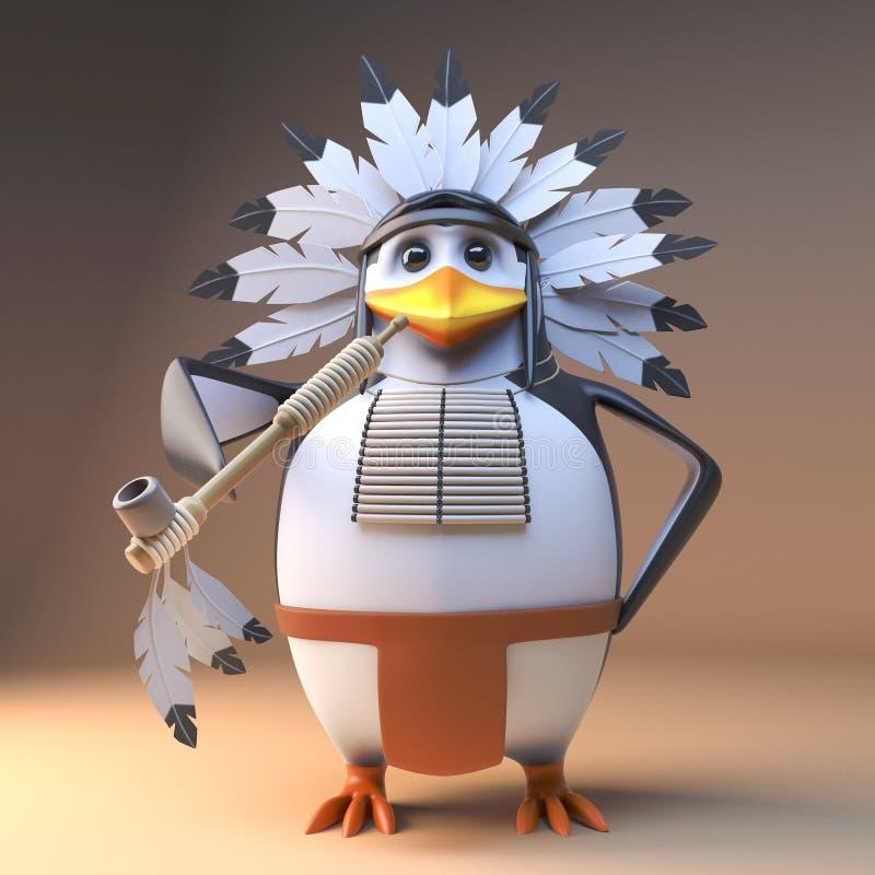 Вождь смешного коренного американца пингвина 3d индийский в оперенном головном уборе куря трубу мира, иллюстрацию 3d иллюстрация вектора