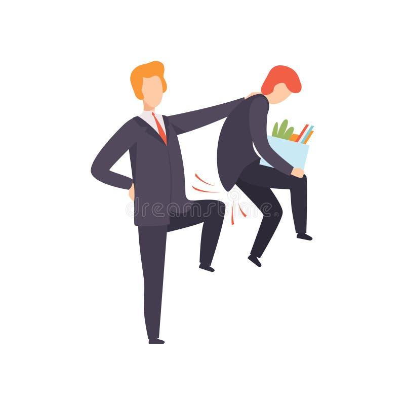 Вождь увольняя его подчиненный, работника офиса увольнятьый от работы, иллюстрации вектора безработного иллюстрация штока