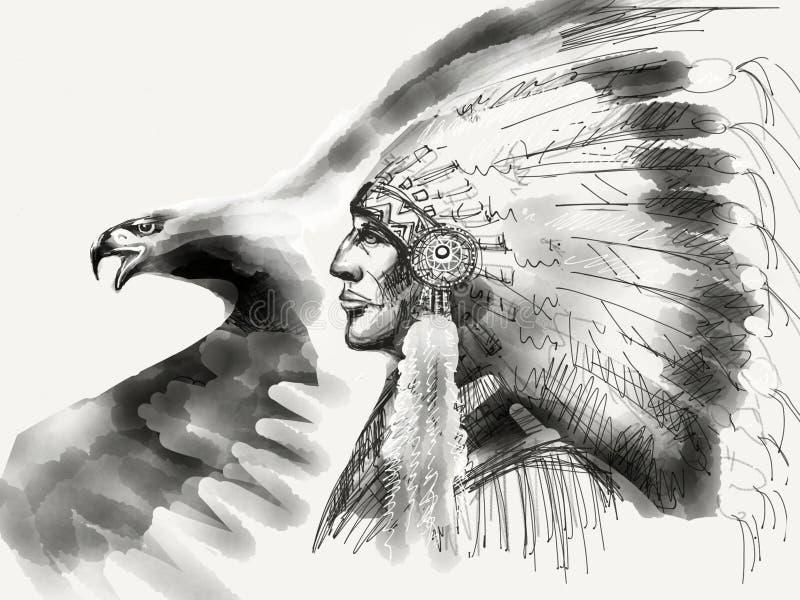 Вождь коренного американца черно-белый иллюстрация штока