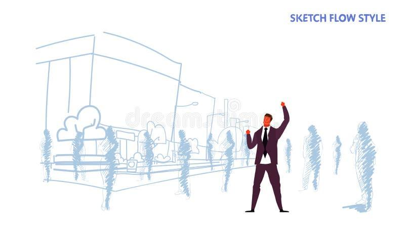 Возбужденный бизнесмен держащ руки вверх по поднятому бизнесмену оружий стоя вне успех победителя силуэтов толпы людей иллюстрация штока