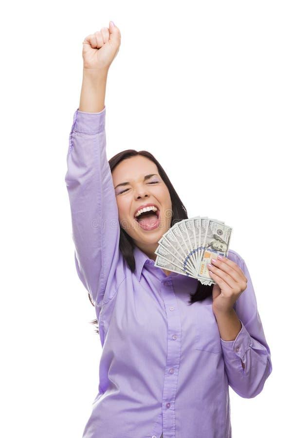Возбуженная женщина смешанной гонки держа новые 100 долларовых банкнот стоковая фотография rf