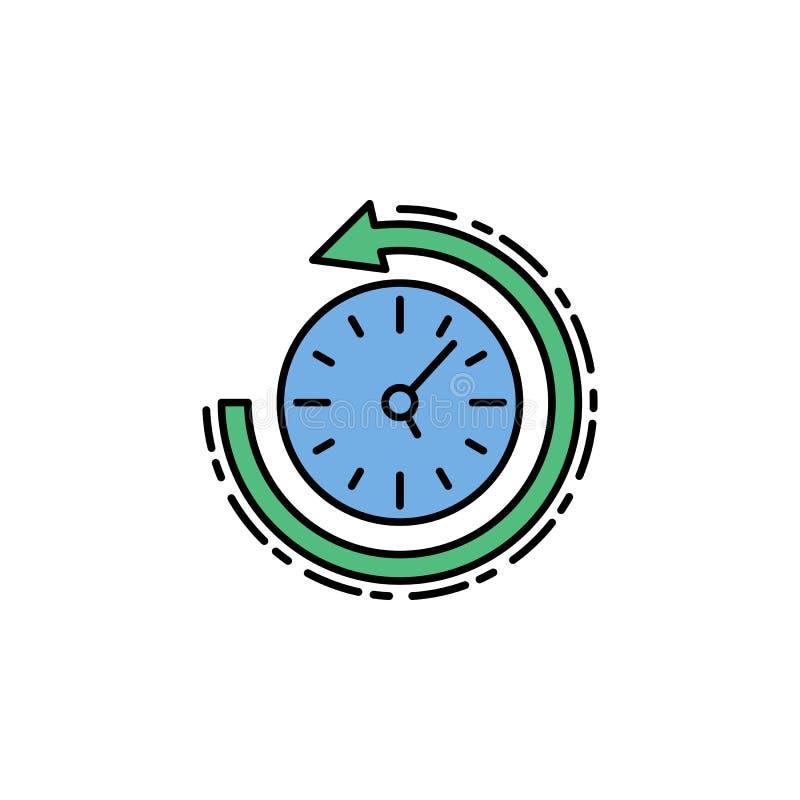 возвращение в прошлый, время и значок даты Элемент значка цвета истории для мобильных приложений концепции и сети Возвращение цве бесплатная иллюстрация