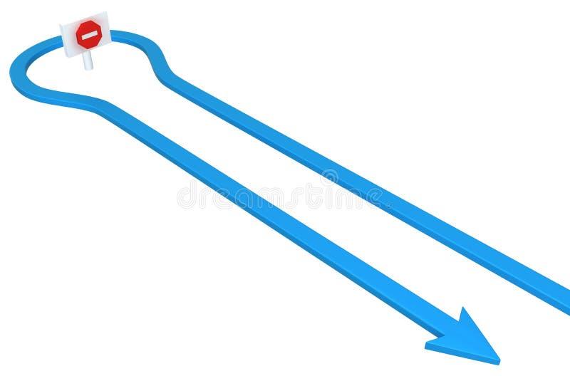 Возвращение знака стопа стрелки иллюстрация вектора
