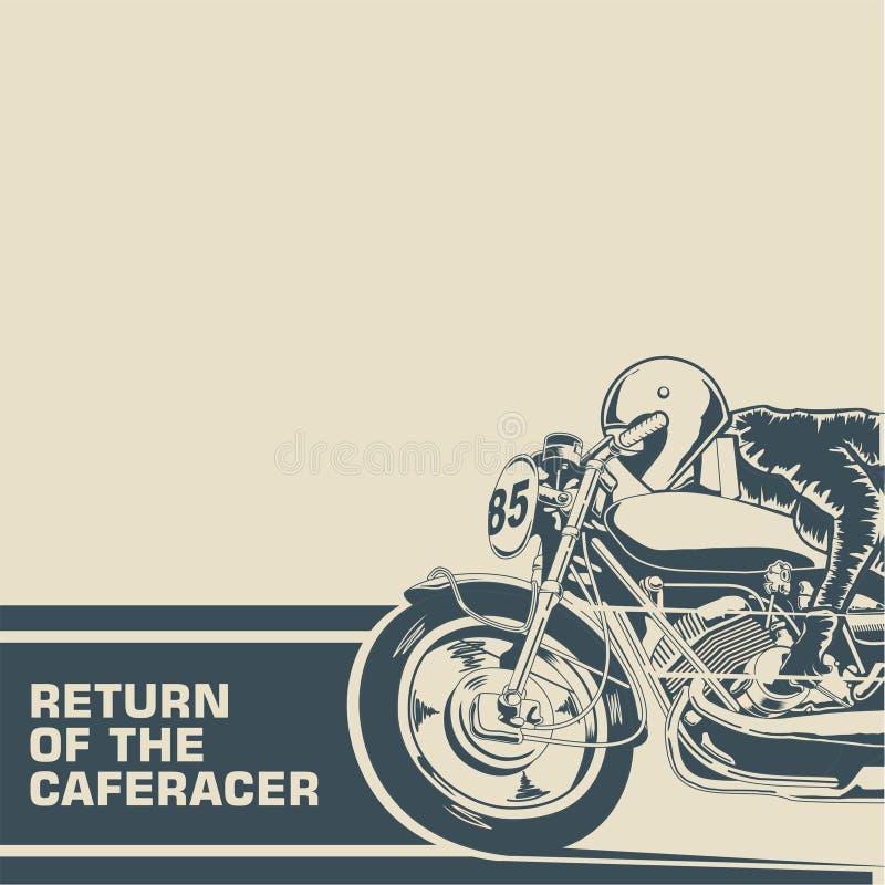 Возвращение плаката гонщика кафа иллюстрация штока