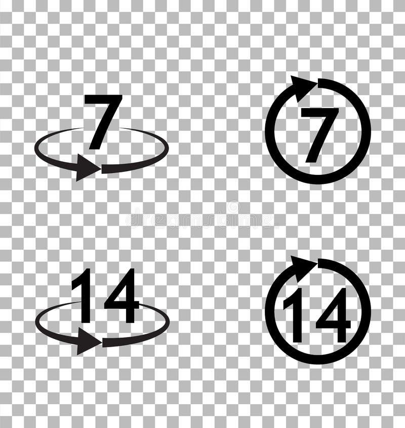 Возвращение товаров не позднее 7 или 14 дней подписывает значок на прозрачном бесплатная иллюстрация