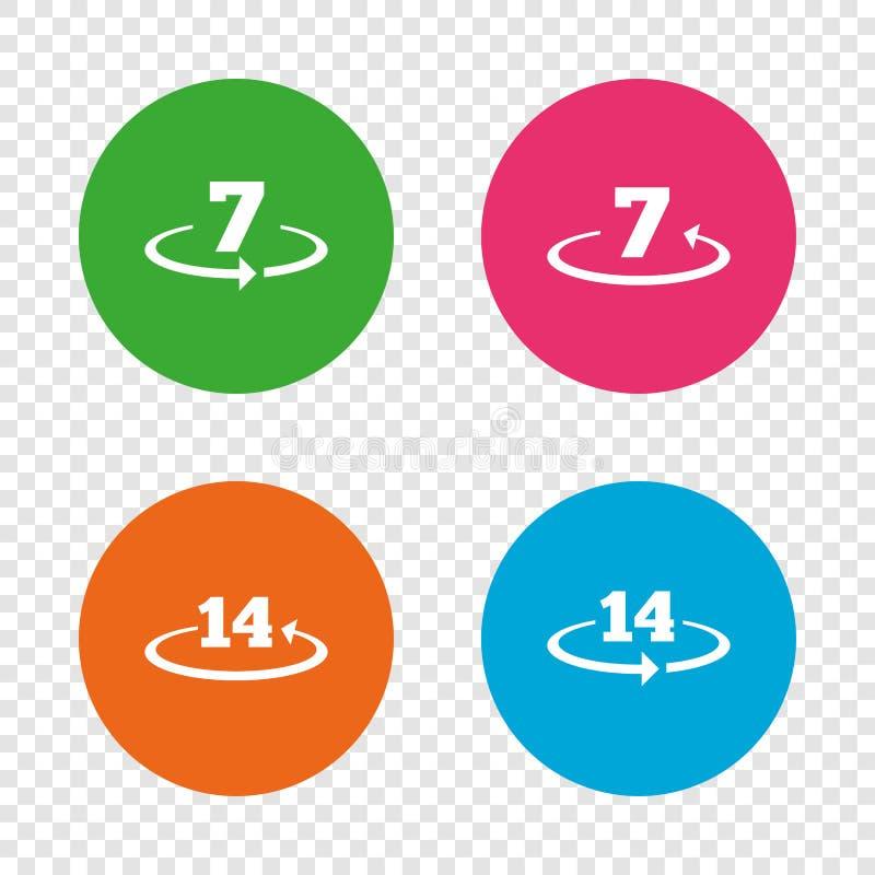 Возвращение товаров не позднее 7 или 14 дней иллюстрация штока