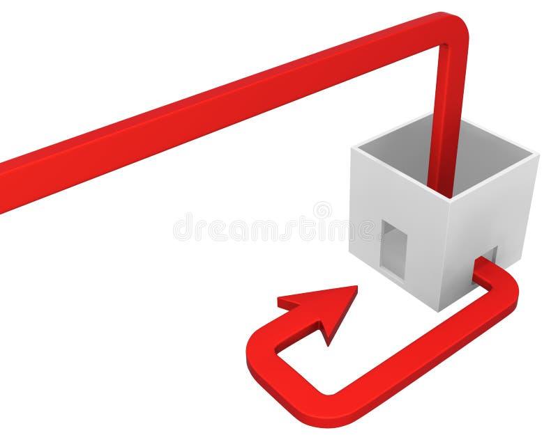 Возвращение утечки коробки стрелки красное бесплатная иллюстрация