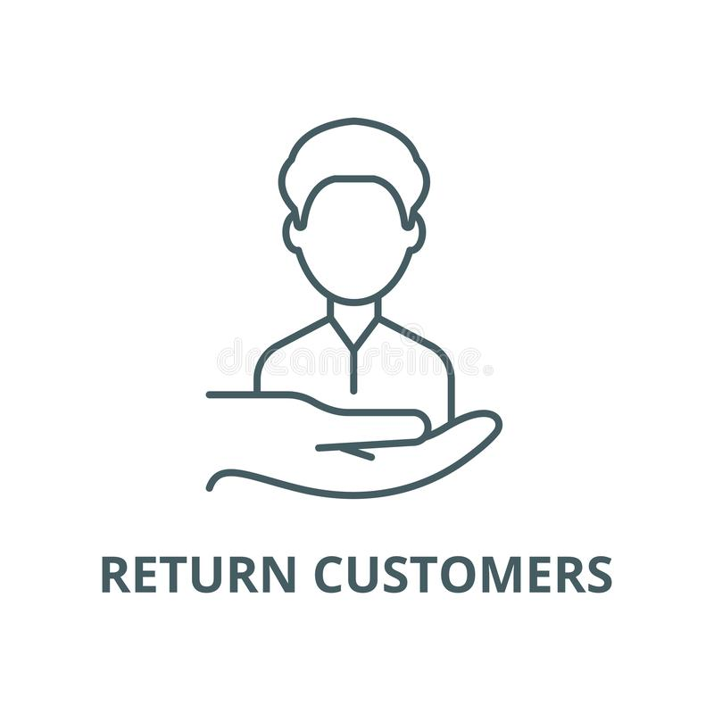 Возвращенная линия значок вектора клиентов, линейная концепция, знак плана, символ иллюстрация вектора