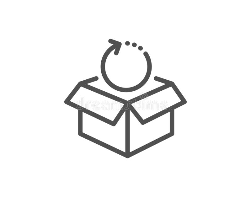 Возвращенная линия значок пакета Знак пакета доставки Коробка товаров груза r бесплатная иллюстрация