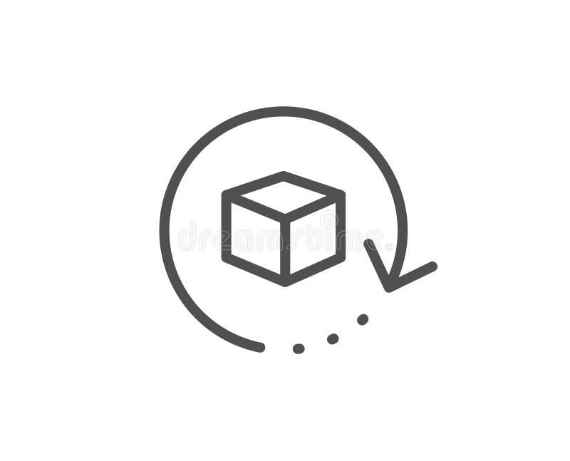 Возвращенная линия значок пакета Знак пакета доставки Коробка товаров груза r иллюстрация вектора