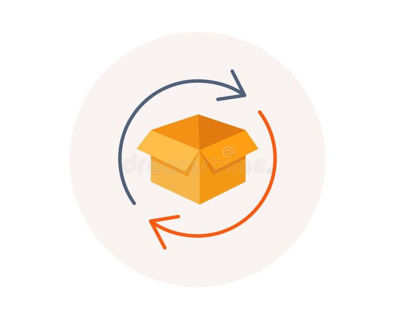 Возвращенный значок пакета Обмен товаров подписывает Символ пакета отслеживая вектор иллюстрация вектора