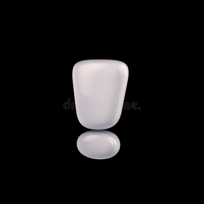 Возглас молока, белые цвета на черной предпосылке, 3d символа представляет бесплатная иллюстрация