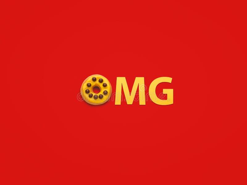Возглас OMG на красной предпосылке иллюстрация штока