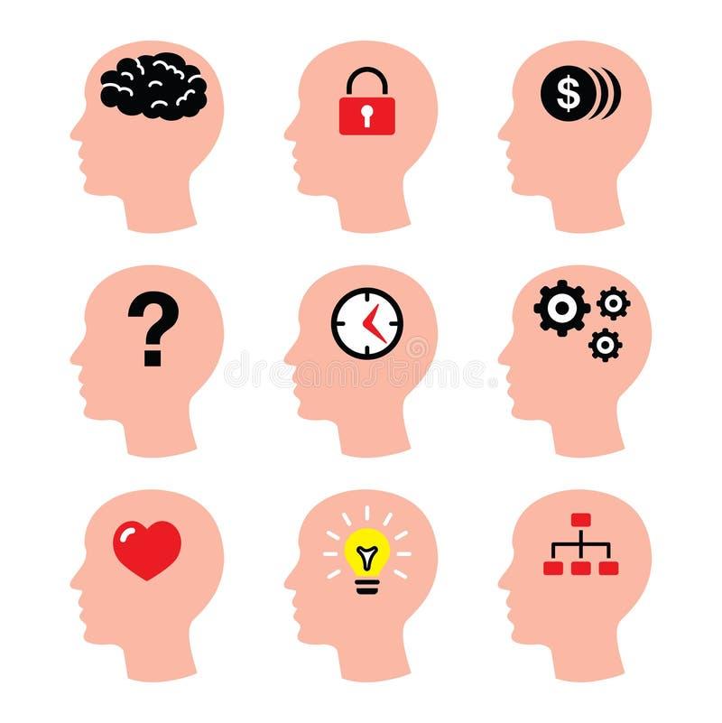 Возглавьте, мысли человека, установленные значки вектора мозга иллюстрация вектора