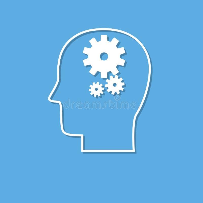 Возглавьте с шестернями, значком мозговой деятельности, отрезком от белой бумаги иллюстрация штока