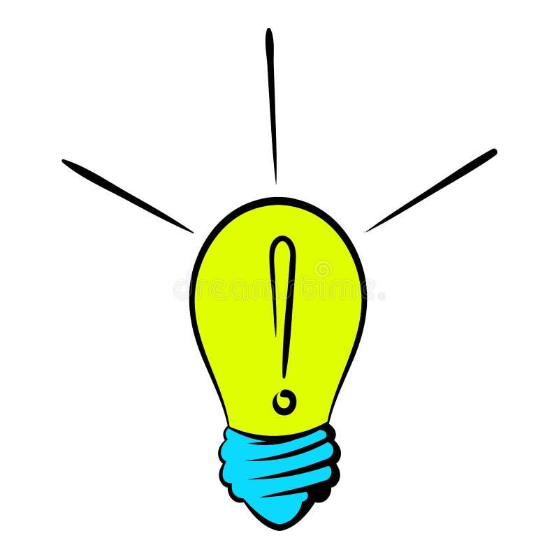 Возглас в значке лампочки, шарж значка иллюстрация вектора