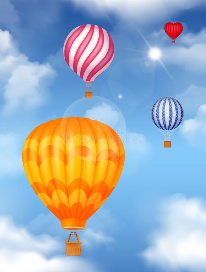 Воздух Baloons в предпосылке неба иллюстрация вектора