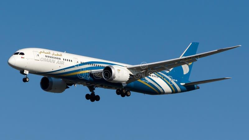 Воздух A4O-SE Омана, Боинг 787-9 Dreamliner стоковое фото rf
