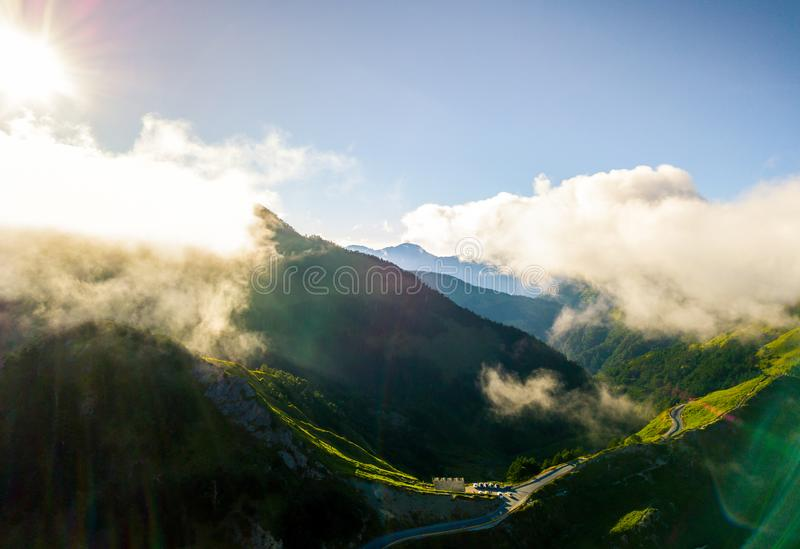 Воздушная гора Hehuanshan съемки стоковые фото
