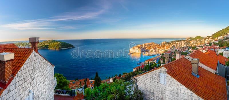 Воздушная панорама городка Дубровника, Европы стоковые фото