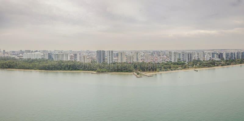 Воздушная панорама района восточного побережья, Сингапура стоковое изображение