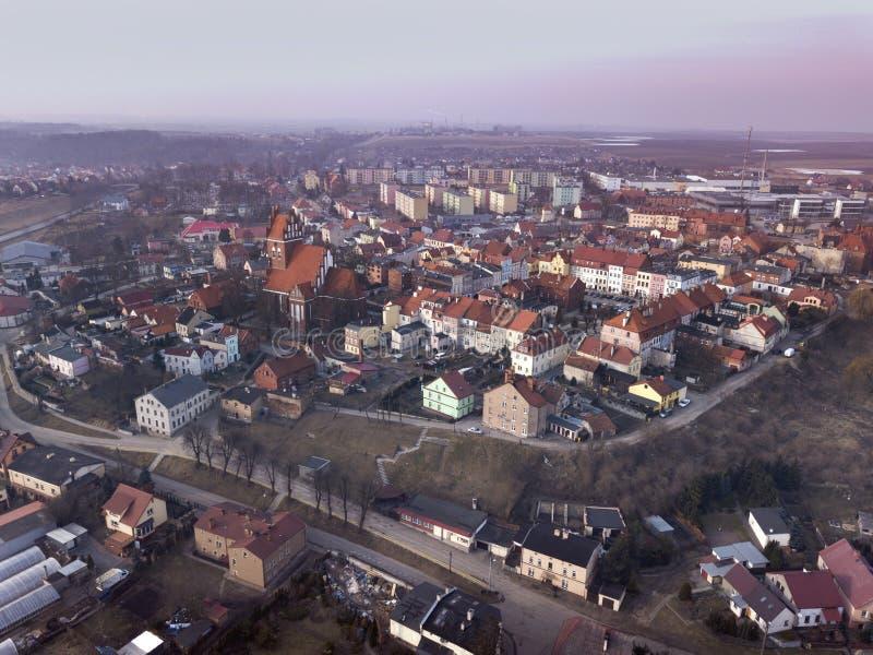 Воздушная панорама Gniew стоковые изображения rf