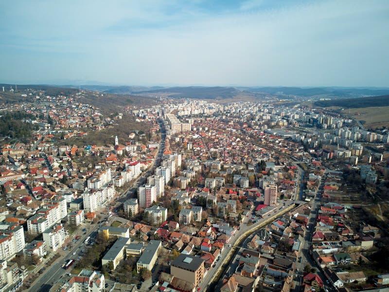 Воздушная съемка города Targu Mures старого на дневном свете стоковое фото