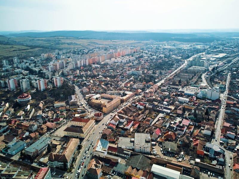 Воздушная съемка города Targu Mures старого на дневном свете стоковое изображение rf