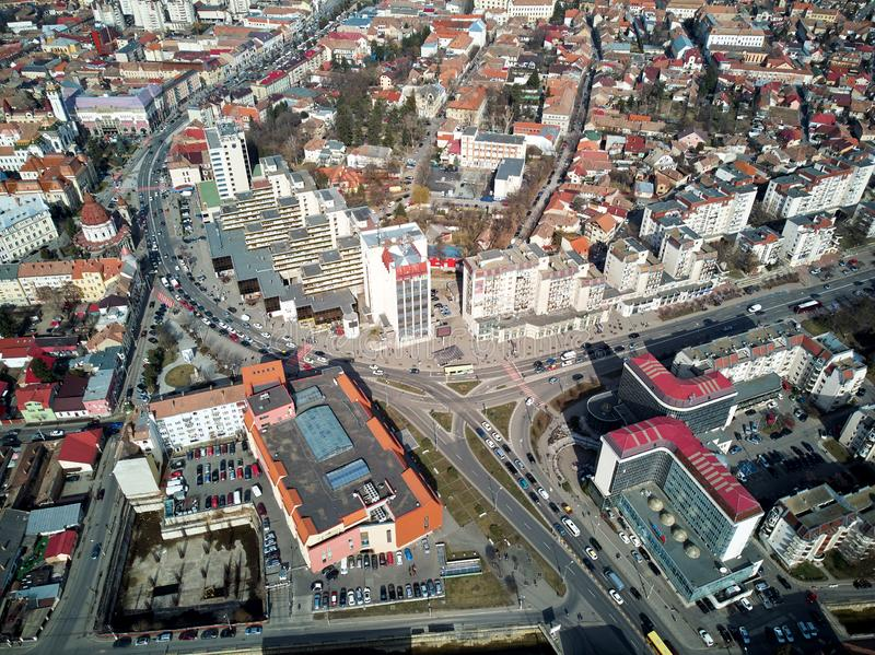 Воздушная съемка города Targu Mures старого на дневном свете стоковые фото
