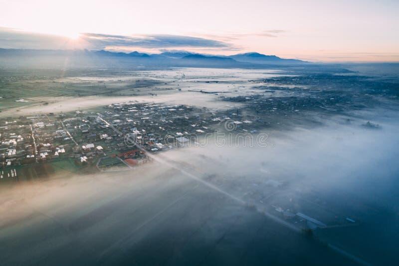 Воздушная съемка маленького города стоковое фото rf