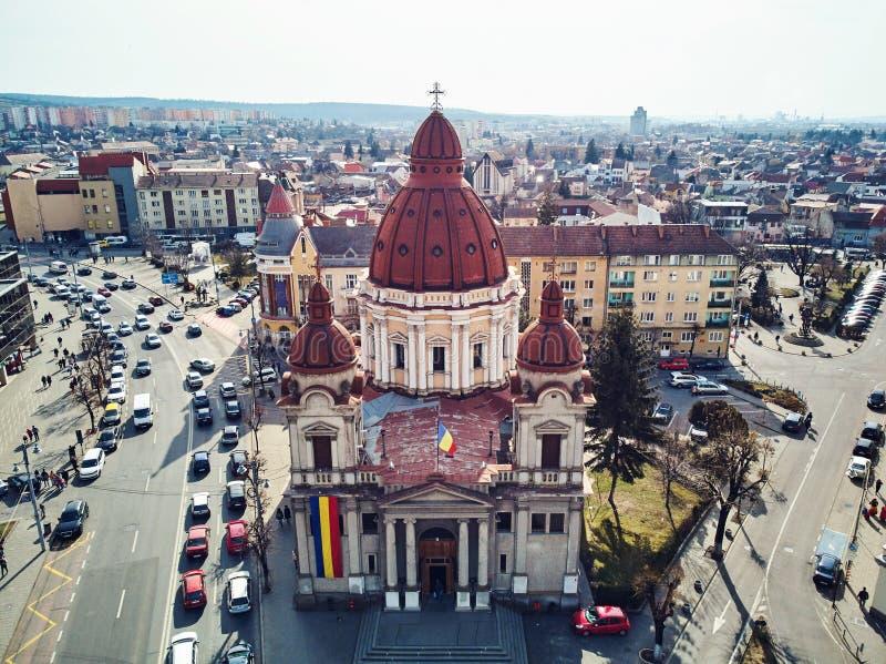 Воздушная съемка собора аннунциации в городе Targu Mures старом стоковые фотографии rf