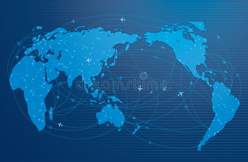 Воздушная трасса вокруг мира бесплатная иллюстрация
