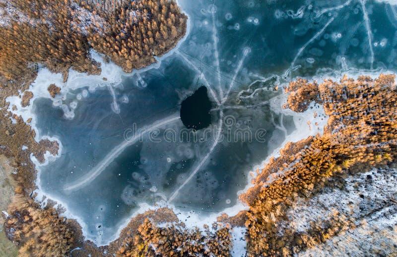 Воздушное изображение замороженного реки в лесе стоковое фото