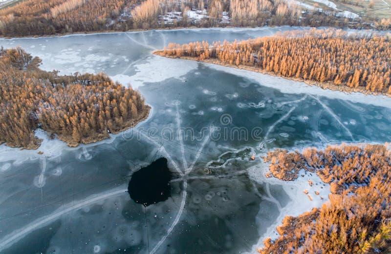 Воздушное изображение замороженного реки в лесе стоковая фотография