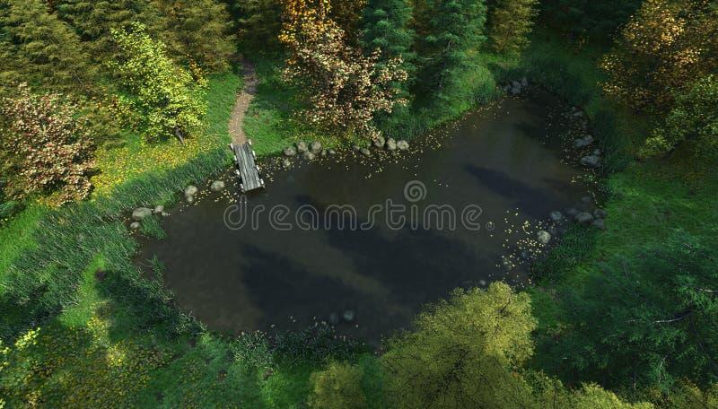 воздушное полесье взгляда озера иллюстрация штока