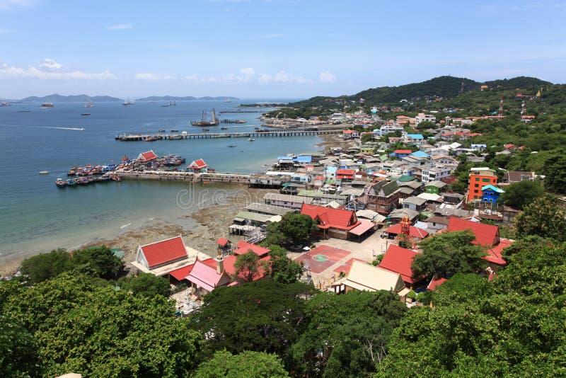 воздушное село взгляда пристани рыболова стоковые изображения rf