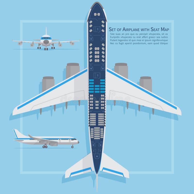 Воздушное судно усаживает взгляд сверху плана Карта данным по самолета дела и эконом-классов крытая также вектор иллюстрации прит иллюстрация вектора